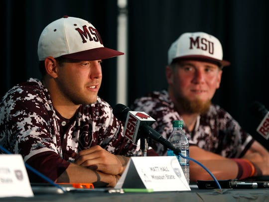 Missouri State pitcher Matt Hall and catcher Matt Fultz speaks in the post-game press conference after beating the Arkansas Razorbacks during the NCAA Division I Baseball Super Regional in Fayetteville, Ark. on Saturday, June 6, 2015.