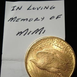"This 1925 $20 gold piece, with a note dedicating it to ""Mimi,"" was received by the Salvation Army in Fort Myers last year."