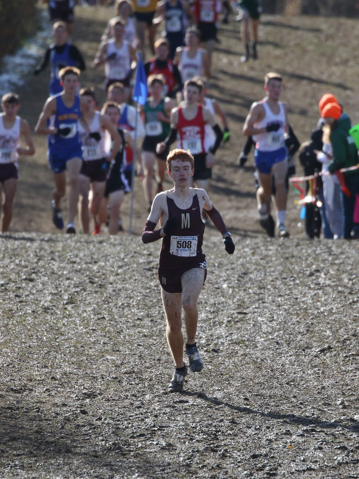 Pittsford Mendon's Nathan Lawler gets ahead of the