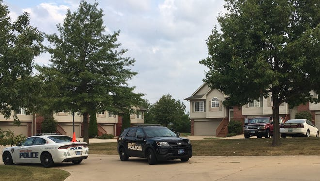 Police respond after shots were fired on David Lee Court in North Liberty early Tuesday morning. Dairion C. Bradley was found dead, possibly of a self-inflicted gunshot wound.
