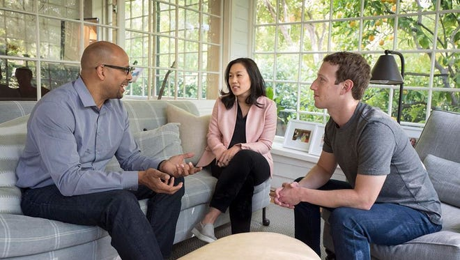 Facebook CEO Mark Zuckerberg and wife Priscilla Chan meet with James Shelton, whom they tapped to run their philanthropic education efforts.