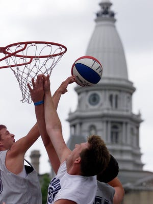 In this 1999 file photo, teams played at Riehle Plaza in the shadow of the Tippecanoe County Courthouse.