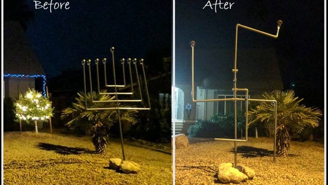 Vandals in Chandler turned a homemade menorah into a swastika.
