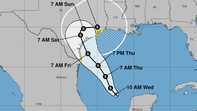 Harvey could reach hurricane strength before slamming into the Texas coast later this week.