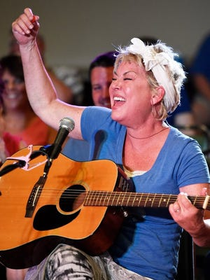 """Nashville, Tennessee, songwriter Roxie Dean belts out one of her songs at the Henderson Moose Lodge during a past Sandy Lee Watkins Songwriters Festival event. Dean got a Grammy nomination for co-writing """"When I Think About Angels."""""""