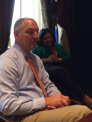 Gov. John Bel Edwards meets with Gannett editors and reporters at his Capitol office.