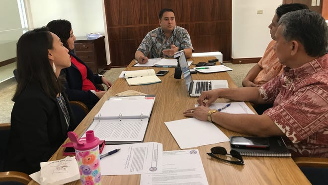In this May 19, 2017, file photo, the Committee on Ethics and Standards meets to review procedures and protocol for complaints. From left are Sen. Régine Biscoe Lee; Sen. Telena Nelson; Sen. Fernando Esteves; Sen. Wil Castro; and Sen.Tom Ada. Absent from the meeting was Vice Speaker Therese Terlaje.