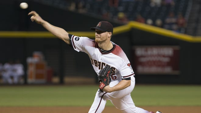 Diamondbacks pitcher Shelby Miller pitches against the Rockies in the first inning at Chase Field on September 12, 2016 in Phoenix.