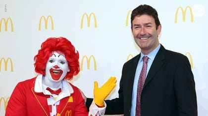 """McDonald's CEO Steve Easterbrook was fired for having a """"consensual"""" relationship with an employee, violating company policy. USA TODAY."""