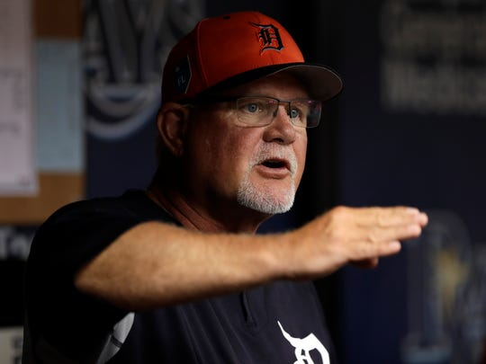 Tigers manager Ron Gardenhire gestures as he talks to his players during the first inning of the Tigers' 2-1 exhibition win over the Rays on Tuesday, March 27, 2018, in St. Petersburg, Fla.