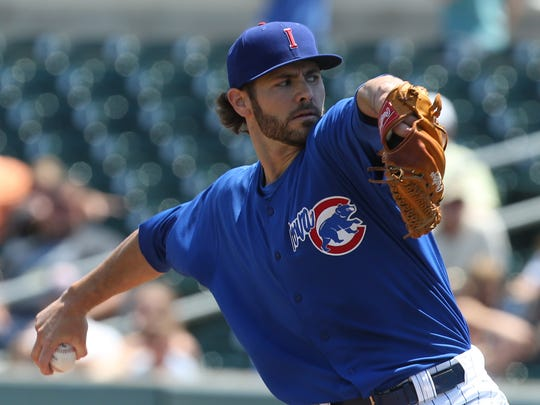 Iowa Cubs pitcher Jake Arrieta delivers a throw during