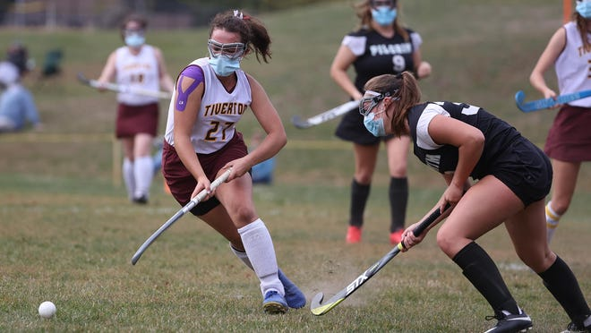 Cassie Taber, left, of Tiverton is shown during a game against Pilgrim on Oct. 10. She scored a goal Wednesday against Classical.