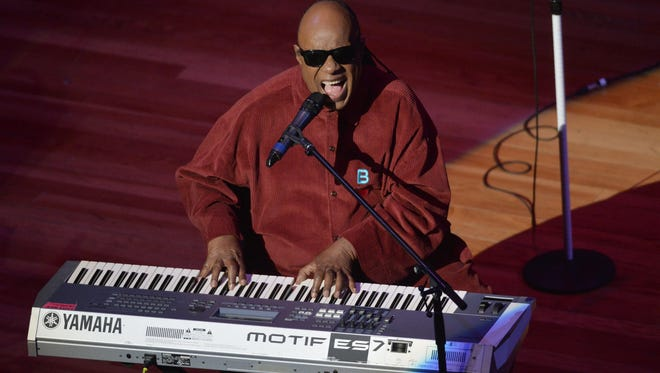 Stevie Wonder performs at  #JusticeForFlint benefit show in Flint, Mich. on Feb. 28, 2016.