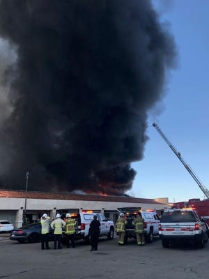 A commercial structure fire eruptedin Indio by Highway 111 Wednesday afternoon, according to the Riverside County Fire Department.