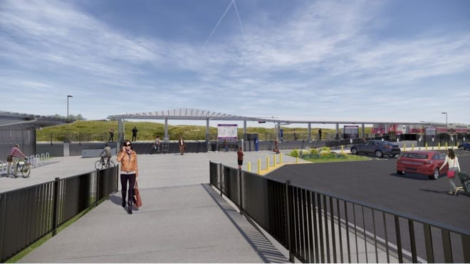An artist rendering of the New Bedford Station planned for the Whale's Tooth parking lot in Downtown New Bedford