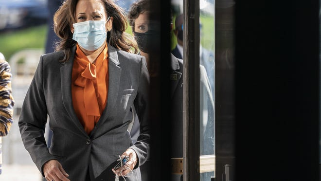 Democratic vice presidential candidate Sen. Kamala Harris, D-Calif., arrives on Capitol Hill for the confirmation hearing of Supreme Court nominee Amy Coney Barrett before the Senate Judiciary Committee, Tuesday in Washington.