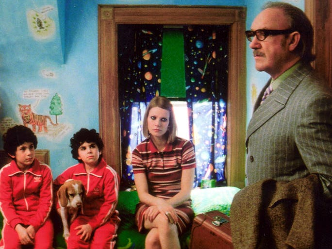 "2001:""The Royal Tenenbaums""<br /> Gene Hackman playsRoyal Tenenbaum, right, who fakes an illness to move back in with his family in Touchstone Pictures' ""The Royal Tenenbaums."" Ben Stiller plays his son Chas, far left, with Jonah Meyerson, center left, Grant Rosenmeyer, center, and Gwyneth Paltrow playing other family members."