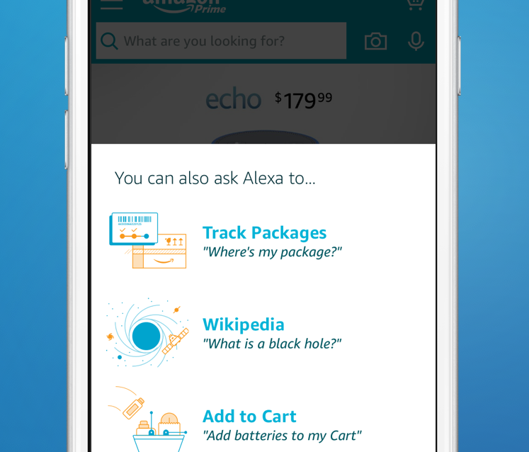 The Amazon app featuring support for Alexa is shown running on the iPhone.