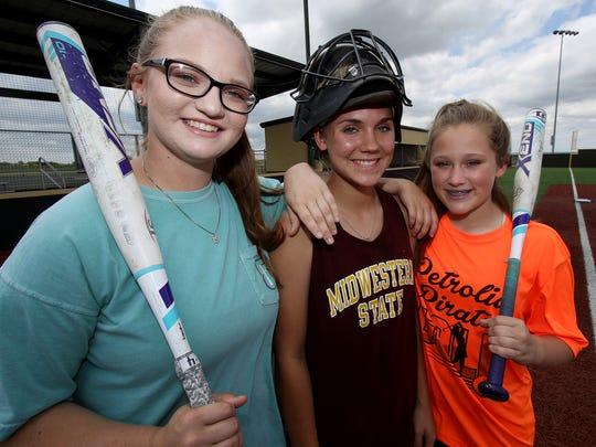 Petrolia freshmen Emilee Macklin, left, Raeley Mataska, and Kelsie Whalen