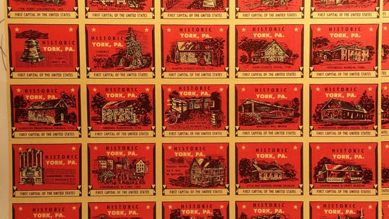 Stamps depicting York County historic sites, issued by Colonial York Tourist Bureau in 1961
