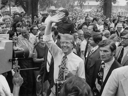Jimmy Carter visits the Iowa State Fair in 1976. The