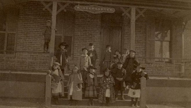 An undated photo of children in front of an El Paso kindergarten.