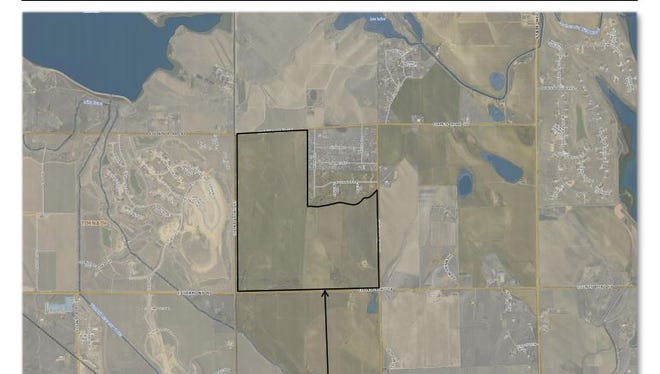 This map shows the site of the 415-home The Ridge at Harmony subdivision in northwest Windsor.