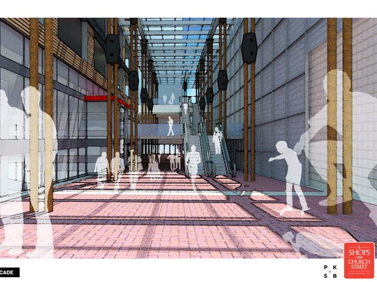 Graphic rendering of the proposed arcade to extend St. Paul Street between Cherry and Bank streets