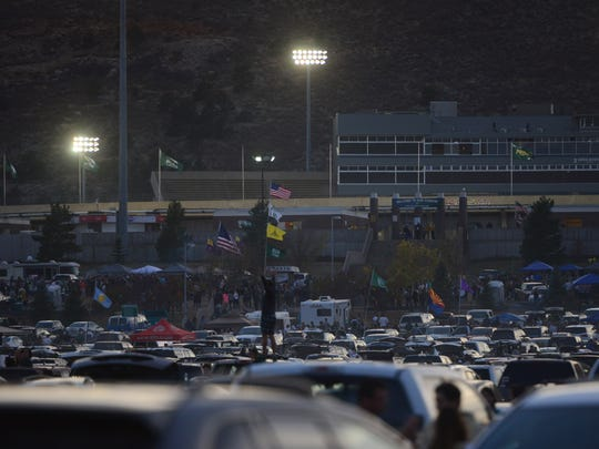 The parking lot of Hughes Stadium fills up for tailgating