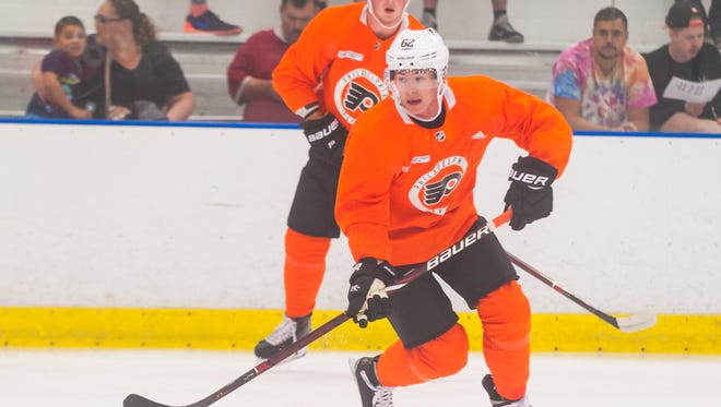 Flyers center Jay O'Brien (62) skates during drills at the 2018 Philadelphia Flyers Developmental Camp at Flyers Skate Zone in Vorhees on Thursday, June 28.