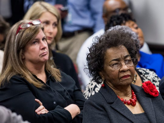 Members of the Montgomery County School Board, from front to back, Mary Briers, Lesa Keith and Melissa Snowden look on as Interim State School Superintendent Ed Richardson announces plans for the Montgomery Public Schools intervention in Montgomery, Ala., on Friday February 9, 2018.