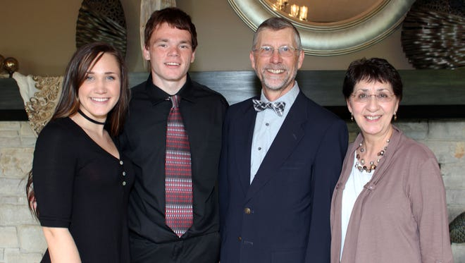 2017 Reyes/Ancel Scholarship recipients McKenna Smith of Lincoln High School, from left, and Andrew Fuhrmann of Nekoosa High School with donors Joe and Guadalupe Ancel.