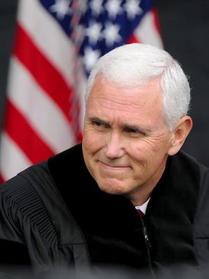 Vice President Michael Pence before the commencement ceremony at Grove City College on Saturday, May 20, 2017 in Grove City, Pa.