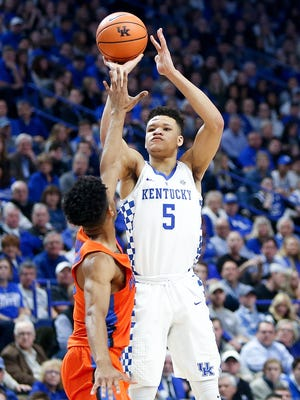Kevin Knox, No. 5 of the Kentucky Wildcats, shoots a three against the Florida Gators at Rupp Arena on January 20, 2018 in Lexington, Kentucky.
