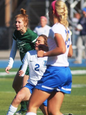 TMC senior Olivia Huber (NewCath) watches her 100th career goal go into the net in the second half for the team's fifth goal of the game.  Thomas More 5, Piedmont 1. NCAA Division III first-round women's soccer. Thomas More College. Crestview Hills KY. Nov. 14, 2015.