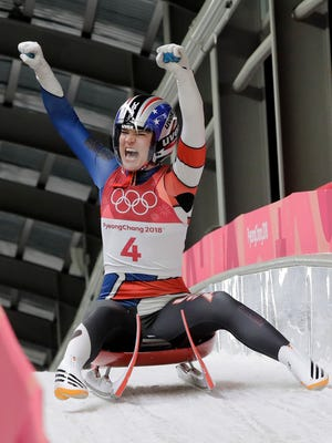 Summer Britcher, from Glen Rock, celebrates after her second run during the women's luge competition at the 2018 Winter Olympics in Pyeongchang, South Korea, Monday, Feb. 12, 2018.