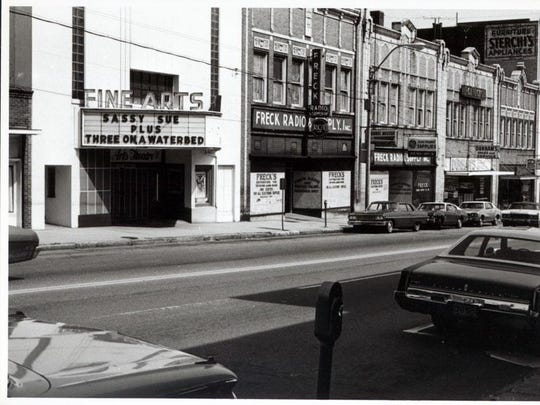 The Fine Arts Theater in downtown Asheville, now at the center of one of Asheville's most popular blocks, was a XXX theater in the early '70s along a then nearly-abandoned Biltmore Avenue.