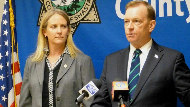 Shasta County District Attorney Stephanie Bridgett is joined by McGregor Scott, U.S. Attorney for the Eastern District of California, as they announce their collaboration in the Project Safe Neighborhoods program.