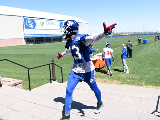 New York Giants wide receiver Odell Beckham Jr. walks off the field after the last day of mini camp in East Rutherford, NJ on Thursday, April 26, 2018.
