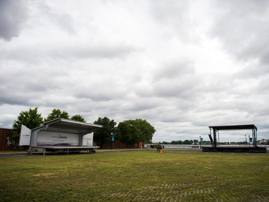 Stages are set at Proprietors Park ahead of 'Not Your Mother's Music Fest' Friday, June 22, 2018 in Gloucester City.