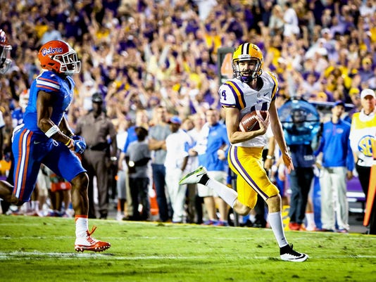 in the football game between LSU and Florida at Tiger Stadium in Baton Rouge, Louisiana on October 17, 2015.
