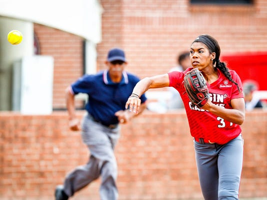 in the softball game between ULL and Alcorn State at Lamson Park in Lafayette, Louisiana on November 21, 2015.