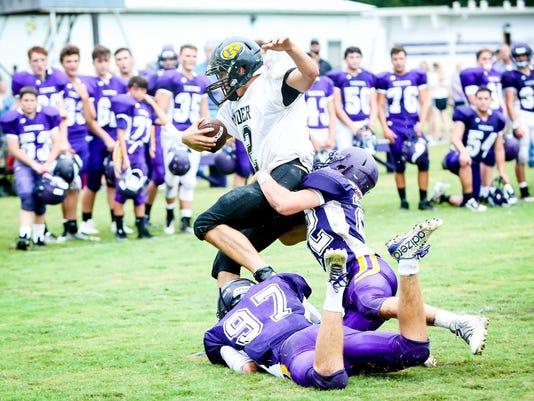 OC Evan Labbe, Nick Mouret combine for tackle vs Kinder in scrimmage, Curley