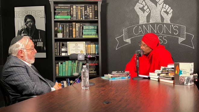 This image provided by Rabbi Abraham Cooper shows Cooper, left, and Nick Cannon during a conversation on Thursday in Burbank, Calif.