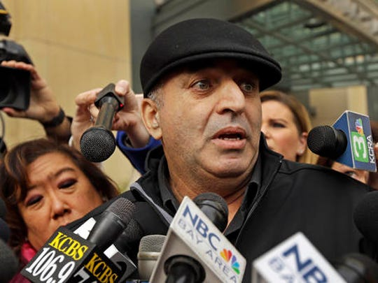Al Salman, uncle of Noor Salman, speaks to the media Tuesday, Jan. 17, 2017, outside a federal courthouse in Oakland, Calif. The widow of the Orlando nightclub gunman has been charged with helping her husband in the months leading up to the June massacre that left 49 people dead, according to an indictment unsealed Tuesday. Noor Salman is due in federal court in Oakland on Tuesday, following her arrest a day earlier on the Florida charges.