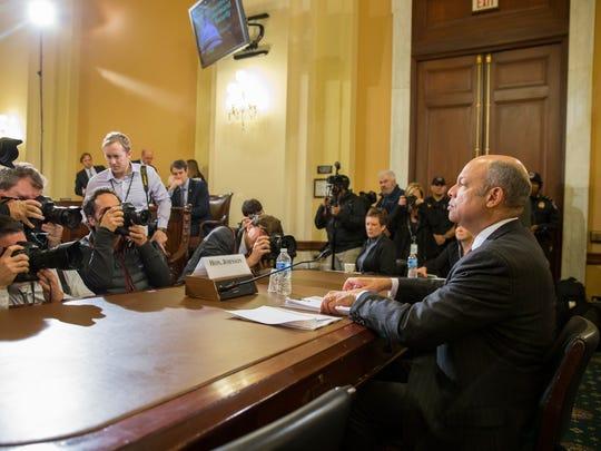 Homeland Security Secretary Jeh Johnson prepares to