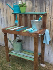"A potting bench made from pallet wood is featured in ""Crafting with Wood Pallets"" (Ulysses Press, 2015) by Becky Lamb. Her book includes projects for furniture, decor and art."