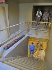 The main stair well to all the rooms during the Historic Recognition Program plaque presentation at the Sweet Building at 115 E. Main Street on July 23, 2016. Owners of the building are Sam Marlene Sciacca. Photo by Michael Alvarez Photo taken on 7/23/16 in Visalia, Ca. 0723_FEA_ThisPlaceMatters_4057 Camera data: 7/23/16 at 9:03:45 AM, ISO 1600, 1/160 @ f/2.8, WB=AUTO, 17mm, , FINE, frame 4057.