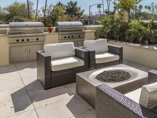 The fire pit has a unique modern design that is sure to impress.