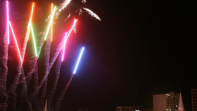 Fireworks light up the downtown sky on New Year's Day in 2011.